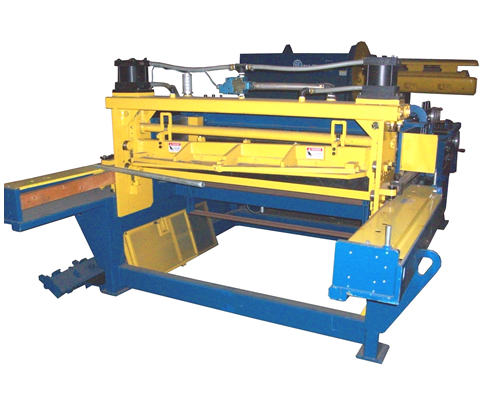 The powered 6 roll straightener section removes coil set and the flying shear assembly cuts the material to length.