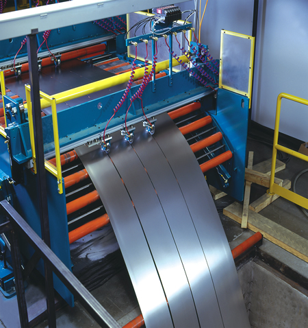The slitting system is designed for use as a spin-down line to convert master coils into smaller coils. Our slitting system can be modified at a later date to be a Combination Multi-Blanking and Recoiling Line with the addition of a shear, stacker and bridge table.