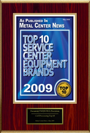 Iowa Precision was awarded the Top 10 award for coil metal processing